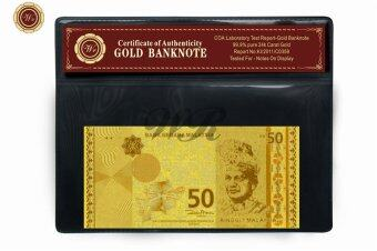 Harga Malaysia 50 Ringgit Pure Gold Plated RM Banknote With COA Frame For Collection