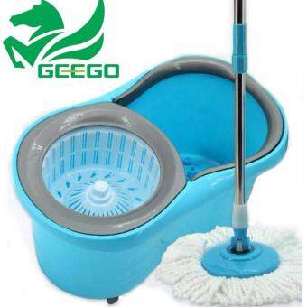 Harga Geego Movable Double Drive Easy Magic Spin Mop With Wheel Press Handle Rotation Dryer Cleaner Bucket Household Cleaning Tools With 2 Microfiber Mop Head (Blue)