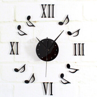 Harga Amart Decor Clock Sticker Mute Wall Clock Decor Home Office Wall Sticker(Black)