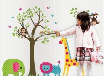 Harga DF5071 Owl Tree Giraffe Vinyl Wall Stickers kids Baby children Decor Home Wall Paper Decal deco Art Sticker New,Big