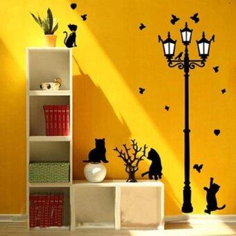 Harga Bluelans Naughty Cats Birds And Street Light Lamp Post Wall Stickers Kids Bedroom Decals