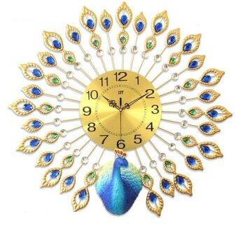 Harga Peacock Wall Clock European Style Metal Home Clock Clock Bedroom Silent Stone Wall Clock 67 × 67cm