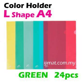 Harga L Shape Green Colour Folder / Transparent Holder File A4 Size / PP L Shape Document Holder 24pcs Colour Each Pack - I JIMAT