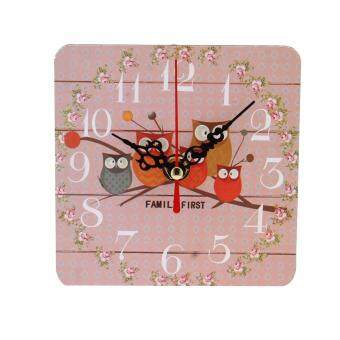 Harga Wood Animal Vehicle Number Printed Retro Wall Clock Clocks Home Decorate style:15