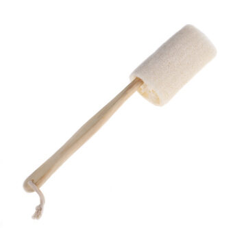 Harga Natural Loofah Long Wood Handle Shower Bath Body Back Brush