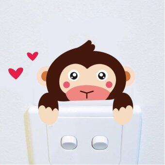 Harga 2PCS DIY Funny Cute Monkey Switch Stickers Wall Stickers Home Decoration Bedroom Parlor Decoration
