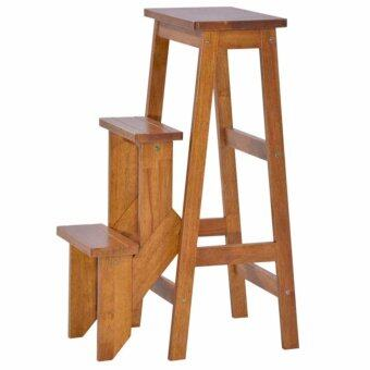 Harga HGF-SS-001AO Folding Wooden Step Stool Chair/ stepladder Antique Oak