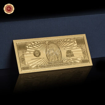 Harga United States Of America 1 Million Dollar Bill 24K Gold Plated Banknote US Souvenir For Home Decor