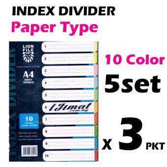 Harga 3 pack of LION FILE A4 Index Divider / Index Separator Paper Type 5sets (10colors)