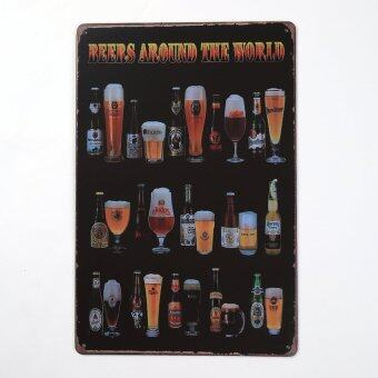 Harga Hanyu Fashion Home Deco beer around the world Bar Cafe Decorative Murals Retro Personality Iron Painting