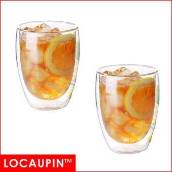 Harga (Set of 2pcs ) Locaupin Glass Bottle Set Tea Glass Coffee Cups Beer Glass DrinkWare --350ml