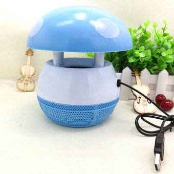 Harga LED Mosquito Killing Lamp Mushroom Design Mosquito Repeller Electric Mosquito dispeller Fly Bug Insect Traps for home with USB(color:blue)