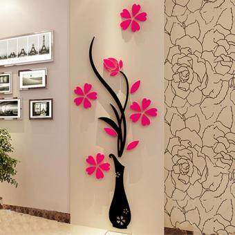 Harga USTORE Beautiful 3D Three Dimensional Vase Background Flower Tree Wall Sticker