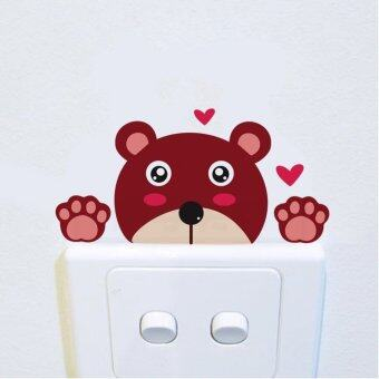 Harga 2PCS DIY Funny Cute bear Switch Stickers Wall Stickers Home Decoration Bedroom Parlor Decoration