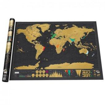 Harga 88x52cm Deluxe Travel Edition Scratch World Map Poster Black Gold