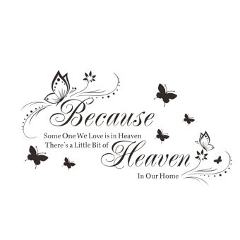 Harga Wall Decal Because Heaven Butterfly English Quotes Decoration Waterproof Home Room Diy Sticker