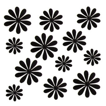 Harga 12PCS Creative Acrylic 3D Flowers Wall Stickers Home Decor Black