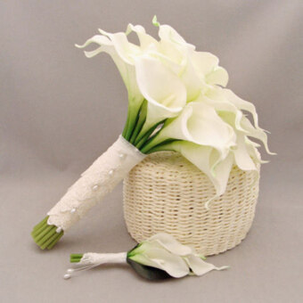 Harga Lifelike White Artificial Calla Lily Flowers Bouquet Garden Home Wedding Decor