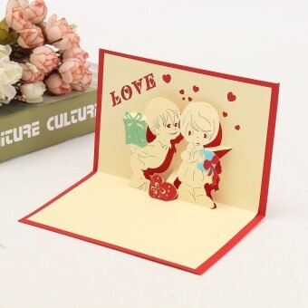 Harga 3D Pop Up LOVE Greeting Card Table Birthday Christmas Postcard Gift Craft DIY