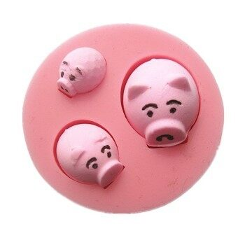 Harga M1012 Three Cute Little Cartoon Pig Fondant Cake Molds