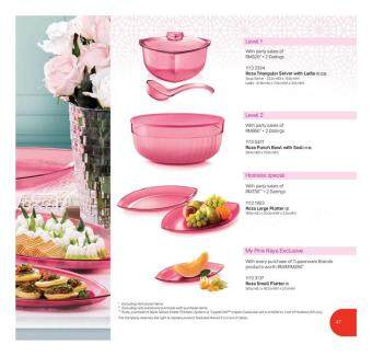 Harga Tupperware Roza Set Triangular Server with Ladle 2.2L & Punch Bowl with Seal 6L & Large Platter & Small Platter