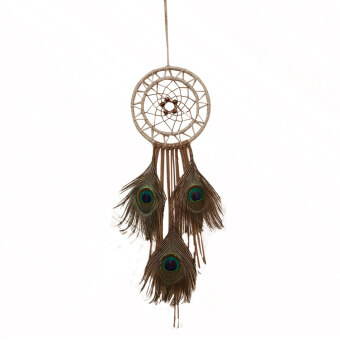 Harga Peacock Feathers Dream Catcher Wall Hanging Home Car Decor Craft