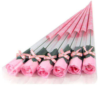 Harga Fang Fang New 5pcs Bath Body Artificial Flower Soap Rose Wedding Party Decor Valentines Gift(Pink)