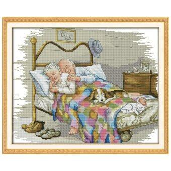 Harga The Old Married Couple Counted Cross Stitch 11CT Printed DMC Cross Stitch Set DIY Cross-stitch Kits Embroidery Needlework