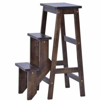 Harga HGF-SS-001CP Folding Wooden Step Stool Chair/ stepladder Cappuccino