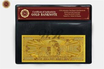 Harga US $1 Billion Dollar Banknote 99.9 24k Gold Foil Plated Big Value Free COA Sleeve