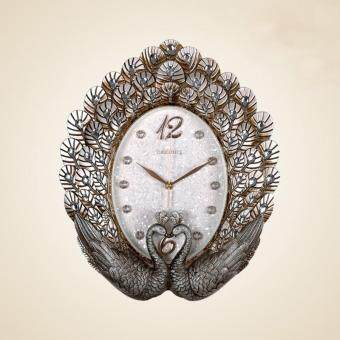 Harga Wall clock European style wall clock living room bell peacock hanging table mute large bedroom decoration clocks