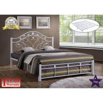 Harga iNSTAR DESIGN BELLE QUEEN SIZE METAL BED FRAME (WHITE)