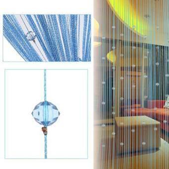 Ishowmall Tassel Curtain Crystal Beads String Curtain Window DoorDivider Sheer Curtains Blue