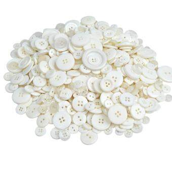 Jiayiqi 600 Pcs Resin Round Sewing Buttons Crafts Accessories White