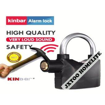 Harga Kinbar Siren Anti-Theft Anti-Cutting Alarm Security Padlock 102Waterproof Heavy Duty For Door Bicycle Motor Car (BLACK)