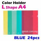 L Shape Blue Colour Folder / Transparent Holder File A4 Size  / PP L Shape Document Holder 24pcs Colour Each Pack - I JIMAT