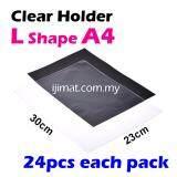 L Shape Clear Folder / Transparent Holder File A4 Size  / L Shape PVC Transparent Document Holder 24pcs Each Pack - I JIMAT