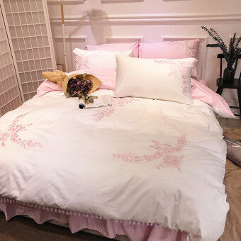 lace korean bed skirt white satin cotton embroidery spring andsummer cotton four sets of princess wind