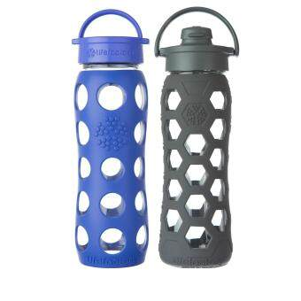 Harga Lifefactory Glass Bottle - Bundle - 22oz (650ml) Classic Cap(Cobalt) & 22oz (650ml) Flip Cap (Carbon Hex)