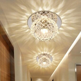 Living Room Round Led Aisle Corridor Lights Turn Off the Lights Crystal Ceiling Light(12cm+5W+warm Light+LED Recessed Luminaire)