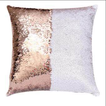 Harga Magic Reversible Mermaid Sequin Cushion Glitter Cover Throw PillowCase Two - color sequins pillow sets of embroidered, Rosegold&white