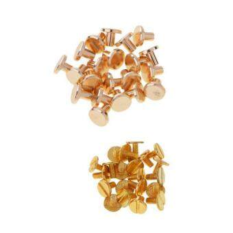 MagiDeal 20 Sets 8mm Round Rivet Screw Studs Chicago Screw Leather Craft Gold