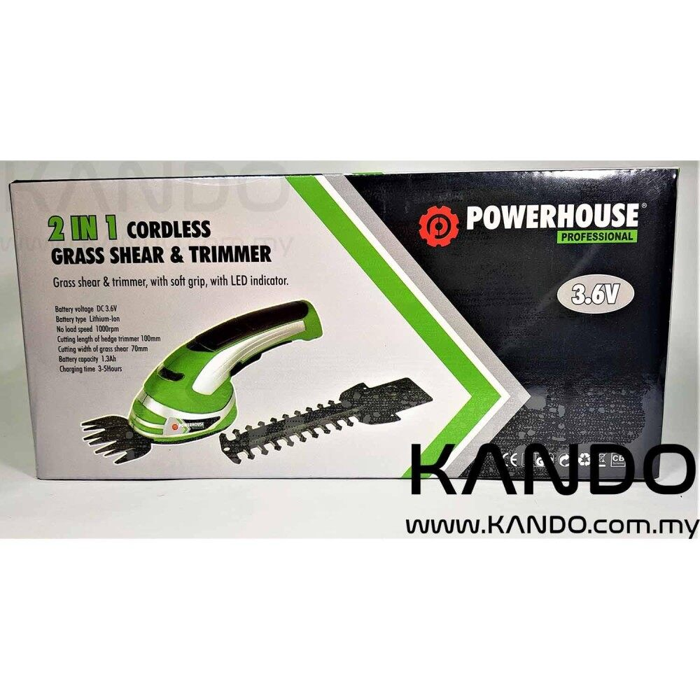 [MALAYSIA]POWERHOUSE 3.6V Grass and Shear Trimmer with Interchangeable Blades Lawn Compact Trimmer Cordless Tools Combo Rechargeable Hedge Trimmer Grass Cutter