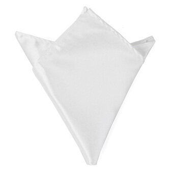 Men Wedding Party Pure Plain Color Square Suit Pocket Satin Handkerchief Hanky White