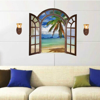 Mimosifolia 3D Windows Beach Wall Sticker Decal Wallpaper PVC MuralArt House Decoration Home Picture Wall Paper for Adult Kids 60X90