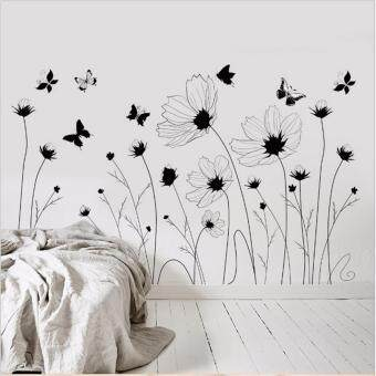 Mimosifolia Simple Flowers Wall Sticker Decal Wallpaper PVC MuralArt House Decoration Home Picture Wall Paper for Adult Kids