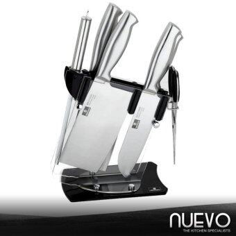 Harga nuevo 5 1 stainless steel knife set with wooden for Harga kitchen set stainless steel