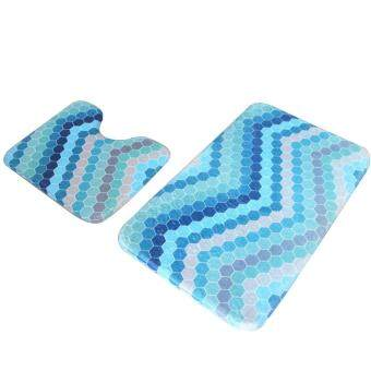 Oscar Store 2Pcs/Set Bathmat Bathroom Absorbent Carpet Contour Rug Anti-Skid Bath Toilet Mat