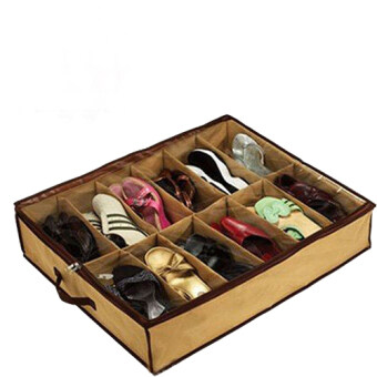 Portable 12 Pairs Shoe Sock Organizer Box Bag Under Bed Shoe Storage Store