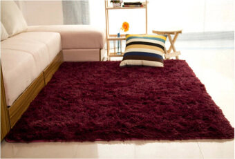 Shaggy Anti-skid Carpets Rugs Floor Mat/Cover 80x120cm Claret Wine Red